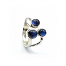Triple cluster Rainbow Moonstone Ring Silver